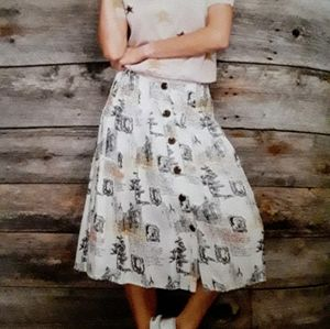 Button front printed skirt